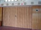 Shrnovací koženková stěna ZŠ Modřany